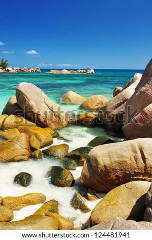 unique Seychelles islands . granite rocky beaches - stock photo