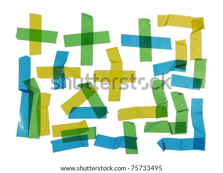 unique Strips of masking tape. Isolated on white - stock photo