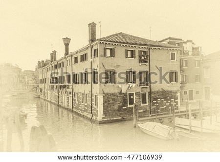 Unique Venetian old house surrounded by channels (view from the bridge), Italy (stylized retro)