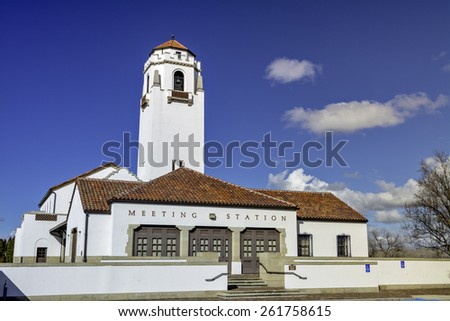 Unique view of a train depot in Idaho - stock photo