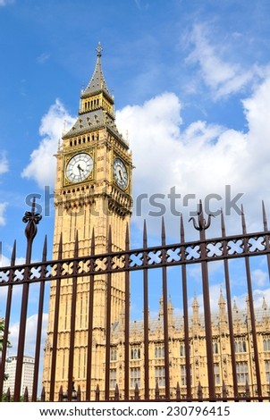 Unique view of Big Ben trough metallic fence  - stock photo