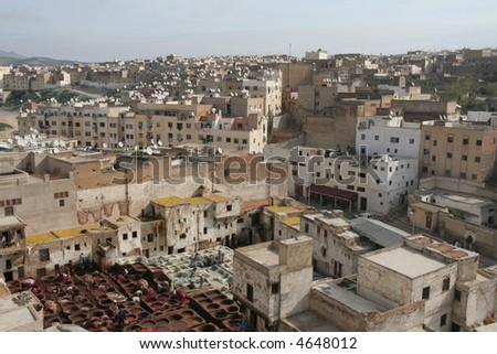 Unique view of Fez roofs with leather works and receivers