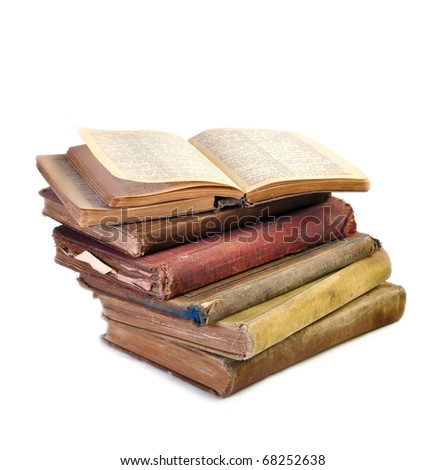 Unique vintage antique books and copy space - stock photo