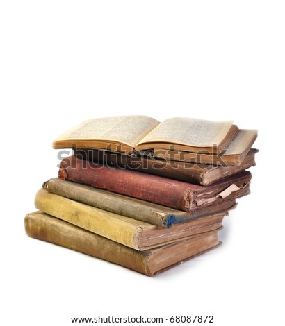 Unique vintage antique books with copy space - stock photo