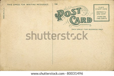 Unique Vintage Blank Postcard requiring a one cent stamp. - stock photo