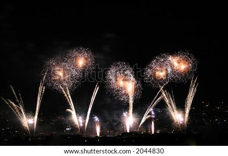 Unique White Fireworks display. - stock photo
