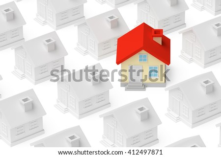 Uniqueness, individuality, real estate business creative concept - funny colorful unique house stand out from crowd of gray ordinary houses 3d illustration. - stock photo