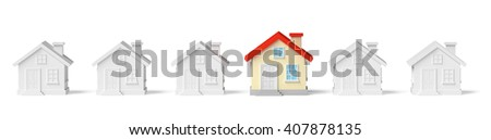 Uniqueness, individuality, real estate business creative concept - funny colorful unique house in row of gray ordinary houses standing out from crowd - stock photo