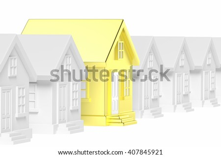 Uniqueness, individuality, real estate business creative concept - golden unique house in row of gray ordinary houses standing out from crowd. - stock photo