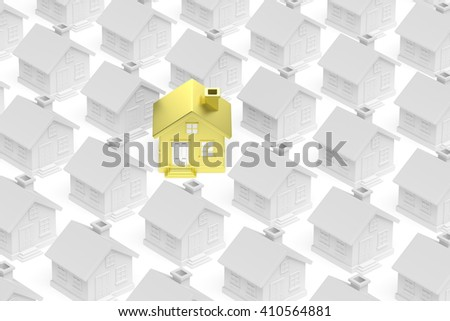 Uniqueness, individuality, real estate business creative concept - golden unique house standing out from crowd of gray ordinary houses 3d illustration. - stock photo