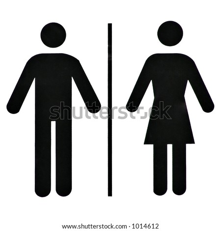 Unisex Bathroom / Restroom Symbol, Black On White, Background