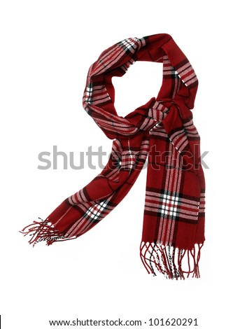 Unisex Cashmere Wool Red Plaid Scarf with trim isolated on white background - stock photo