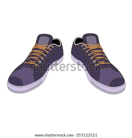 Unisex outlined template sneakers pair front view, illustration isolated on white background