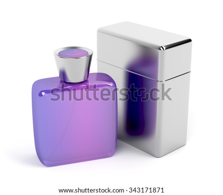 Unisex purple perfume bottle and metal packaging box - stock photo