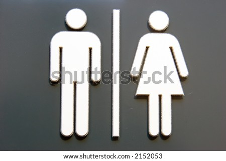 Unisex symbols on a door sign. Even the gray color gives no hint of sexual preference.