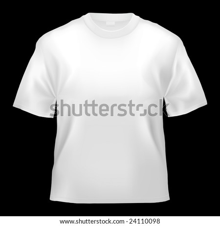 Unisex T-shirt template (isolated on black, clipping path) - stock photo