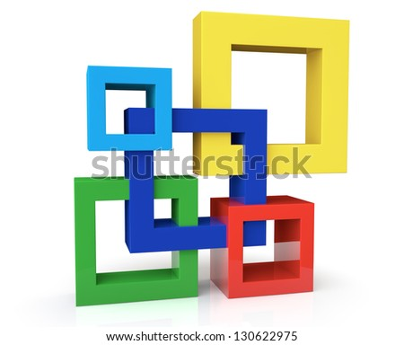 Unit Concept with five frames on a white background - stock photo