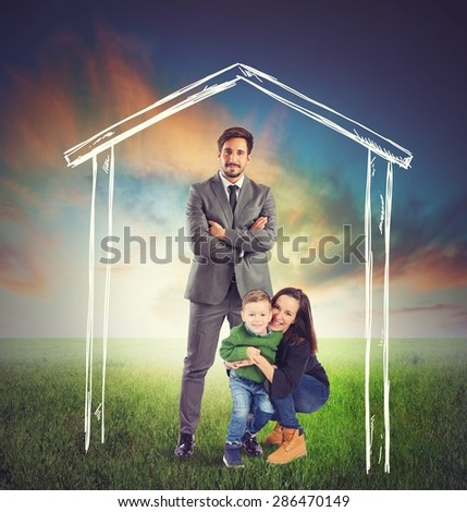 United and happy family in a house - stock photo