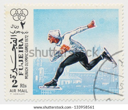UNITED ARAB EMIRATES - CIRCA 1972: A stamp printed in Fujeira, shows Olympic Games in Munich in 1972, skater, circa 1972