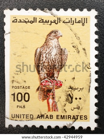 UNITED ARAB EMIRATES - CIRCA 1987: A stamp printed in the United Arab Emirates (UAE) shows image of a bird of prey, series, circa 1987 - stock photo