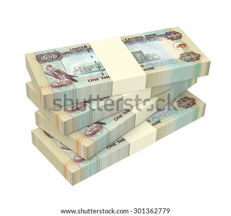 United Arab Emirates dirhams bills isolated on white background. Computer generated 3D photo rendering. - stock photo