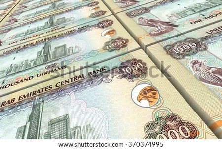 United Arab Emirates dirhams bills stacks background. Computer generated 3D photo rendering.