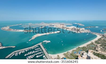 United Arab Emirates, Dubai, 07/14/2014, Jumeirah Palm Island dubai shot from the rooftop top of the princess tower in dubai marina, use - stock photo