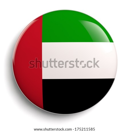 United Arab Emirates flag icon. Clipping path included.  - stock photo
