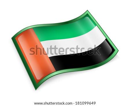 United Arab Emirates Flag Icon, isolated on white background. - stock photo