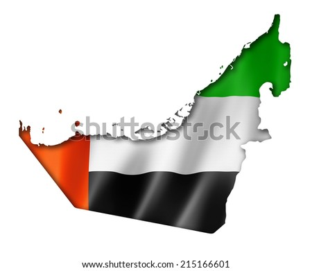 United Arab Emirates flag map, three dimensional render, isolated on white - stock photo