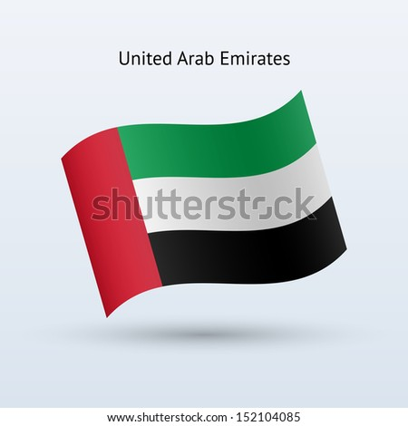 United Arab Emirates flag waving form. See also vector version.