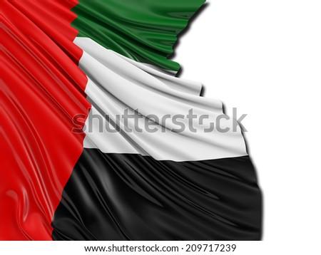 United Arab Emirates folded Flag with white - stock photo