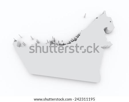 united arab emirates grey map on white isolated - stock photo