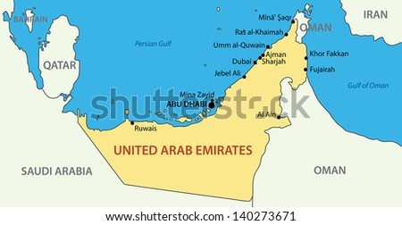 United Arab Emirates - map - stock photo