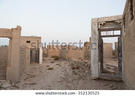 United Arab Emirates, Ras Al Khaimah, 04/11/2015, Traditional  wooden detailed doorway, left to ruin, Old Ras Al Khaimah abandoned ghost town, Al Jazirah Al Hamra
