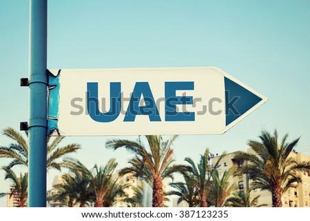 United Arab Emirates Road Sign - stock photo