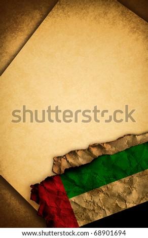 United Arab Emirates / UAE flag and old paper - stock photo