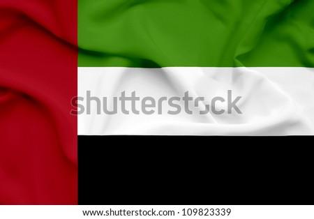 United Arab Emirates waving flag - stock photo