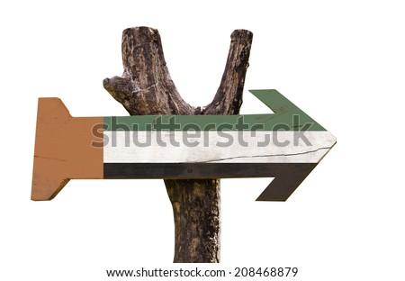United Arab Emirates wooden sign isolated on white background - stock photo
