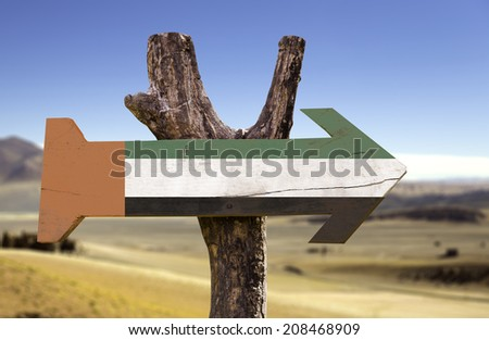 United Arab Emirates wooden sign with a desert background - stock photo