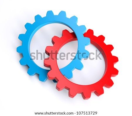 United blue and red gear. Isolated on white background - stock photo