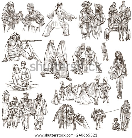 United Colors of Human Race - NATIVES - Collection (no.17) of an hand drawn illustrations. Description: Full sized hand drawn illustrations drawing on white background.