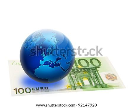 United Europe flag and globe over 100 euro. Isolated on white. Money concept design. - stock photo