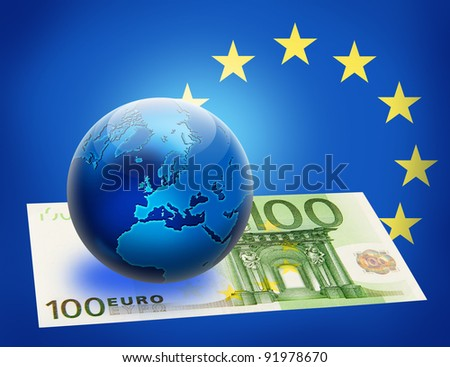 United Europe flag and globe over 100 euro. Money concept design. - stock photo