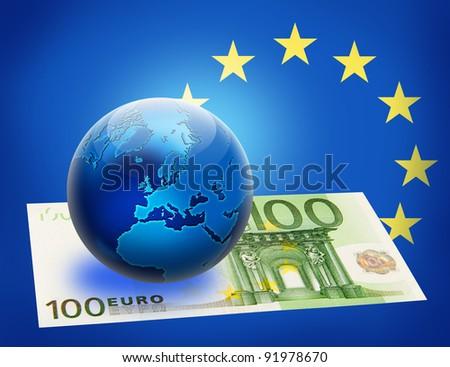 United Europe flag and globe over 100 euro. Money concept design. - stock photo