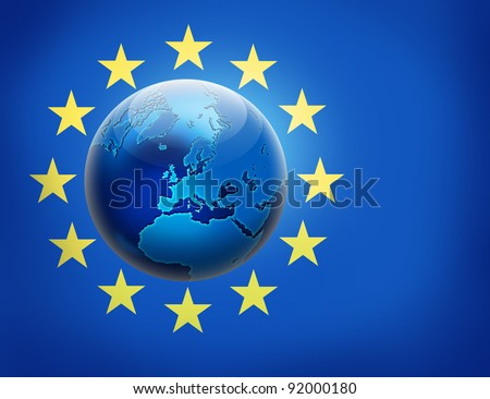 United Europe flag and globe over it. Earth concept design. - stock photo