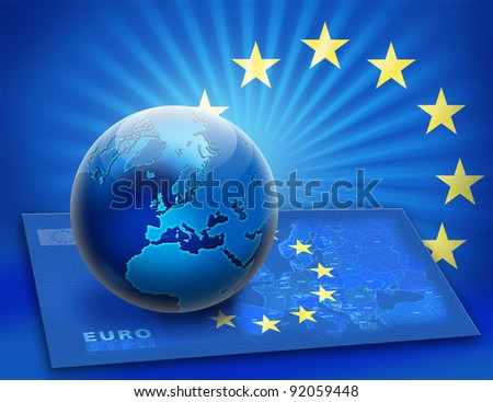 United Europe flag and globe over map. Earth concept design. - stock photo