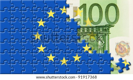 United Europe flag over 100 euro with puzzle design - stock photo
