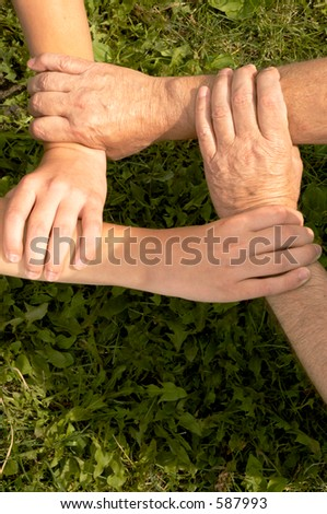 united hands - stock photo