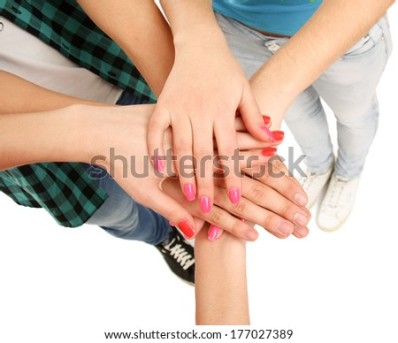 United hands of young people